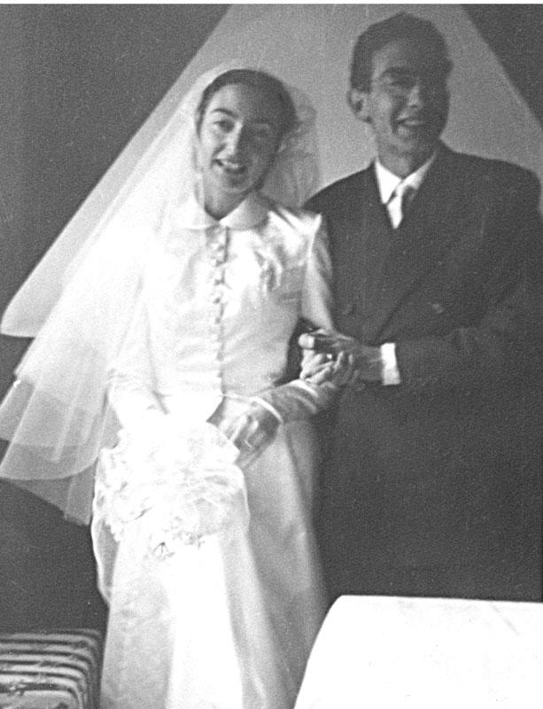 1950 - Nini e Mario il giorno del matrimonio ad Orani